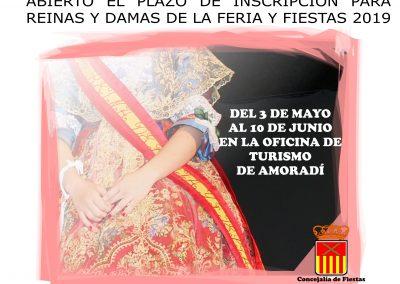 Abierto el plazo de inscripción para Reinas y Damas de la Feria y Fiestas Almoradí 2019.