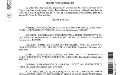 Convocatoria Extraordinaria del Ayuntamiento en Pleno